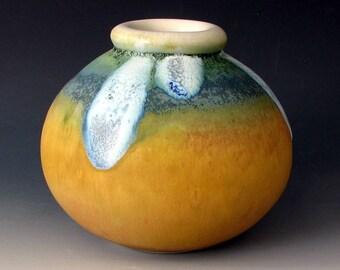 STONEWARE VASE #15 - Round Vase - Ceramic Vase - Pottery Vase - Round Jar - Round Bottle - Centerpiece - Ikebana - Flower Vases