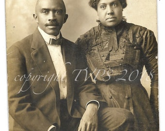 Vintage Photo, RPPC Identified African American Couple