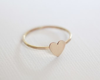 tiny heart ring, dainty ring, gift for her - yellow gold filled