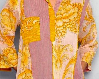 SALE Flowers Prints Stripes Contrast MARIGOLD 3/4 French Sleeves Blouse
