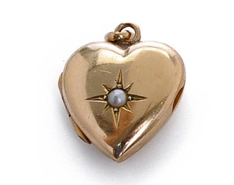 Puffed Heart and Pearl Locket