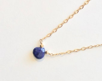 Lapis Lazuli and Gold Necklace with 14k GF Magnetic Clasp, Lapis and Gold Necklace