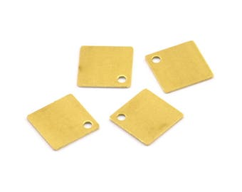 Brass Square Charm, 100 Raw Brass Square Charms (9mm) Brs157 A0206