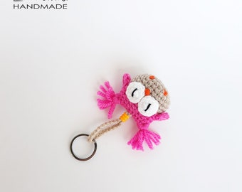 Cute Keychain Crochet Owl Amigurumi Pink Keychain Cute Keyring Small Gifts For Girls Thank You Gift For Friend Owl Ornament Pink Bag Charm
