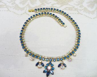 Vintage Blue and Aurora Borealis Rhinestone Necklace- gold tone metal  - vintage bridal - WEDDING piece - Something blue bridal - Bridesmaid