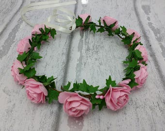 Pink rose hair garland, pink hair wreath, flower crown, flower girls, bridesmaid crown, ladies floral garland, hair garlands, halo, wedding