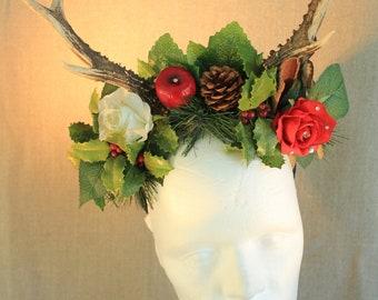 """serre-tête/coiffe """"cornes/bois de chevreuil Noël"""" médiéval, bucolique, fantastique"""