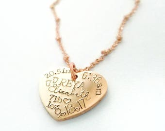 Birth Announcement Necklace - New Mom Necklace - Push Present - New Mom Gift - Mother's Day Gift  - Baby Name Necklace -Newborn Stats Charm