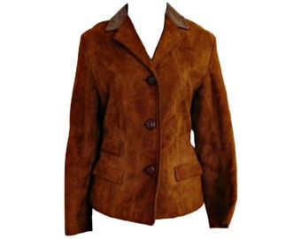 Vintage Suede Jacket Leather 70s Rust Brown Size Small