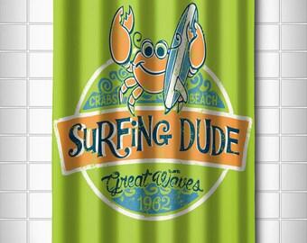 Crab Surfing Dude Shower Curtain, Coastal Shower Curtain, Kids Shower Curtain