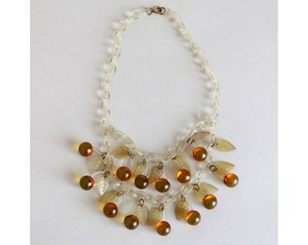 Vintage 1940s Necklace : 40s Apple Juice Bakelite and Celluloid Necklace