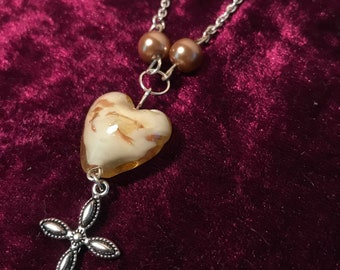 handmade silver plated necklace with large stone