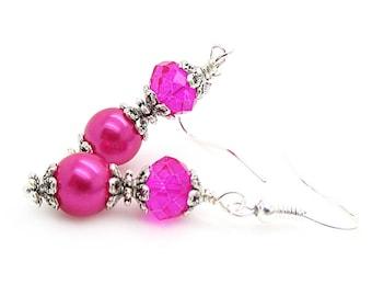 Bright Pink Bridesmaid Earrings, Hot Pink Bridal Jewellery, Pearl Drop Earrings, Fushia Bridesmaids, Pink Bridesmaid Sets, Bridal Party Gift