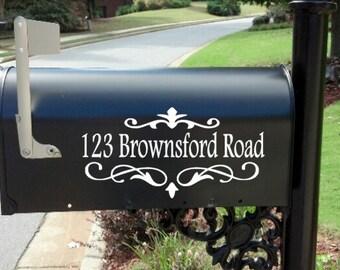 Personalized  Monogram Custom Mailbox Decal street address