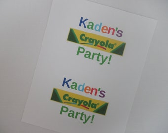"Crayola Crayon Birthday Party Custom 3.9"" or 5"" Paper Plate Labels or Water Bottle Labels or 2"" Paper Cup Labels. I Can Do YOUR Party Theme!"