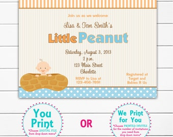 Little Peanut Baby shower invitation - little peanut --  you print or I print