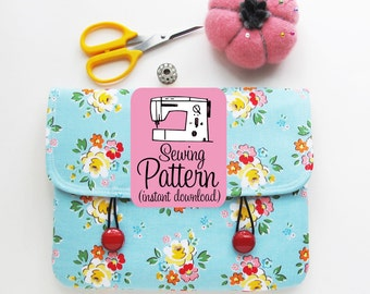 Envelope Clutch PDF Sewing Pattern | Quick and easy beginner sewing project to make an envelope style clutch with interior patch pocket.