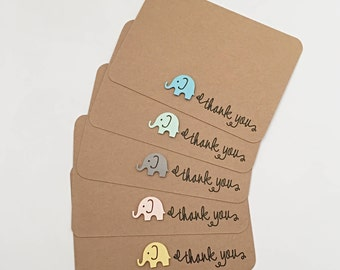 10 x Baby Shower Thank you cards – Baby Elephant Thank You Cards Set – Wedding Thank you cards – Birthday Thank you cards – Thank you cards