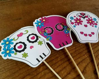 Sugar Skull Party Decorations - Set of 12 Double Sided Assorted Sugar Skull Cupcake Toppers by The Birthday House
