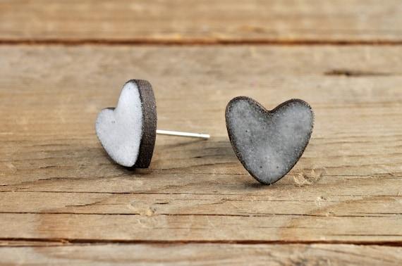 SMALL matte white heart shape stoneware stud earrings