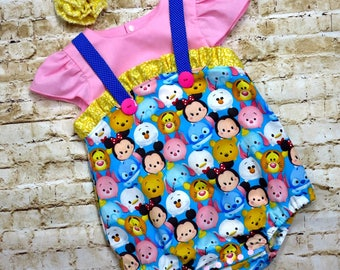 Disney Tsum Tsum - 1st Birthday Outfit  - Disney Vacation - Baby Girls Romper - Baby Girl Shower Gift - Baby Girl Clothes  - Newborn/18 mos