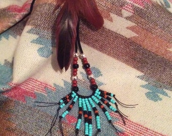 Southwest Style, Feather and Seed Bead Necklace