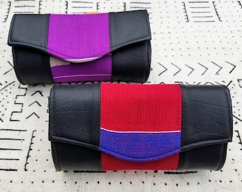 Purple red Kente cloth and faux leather clutch purse