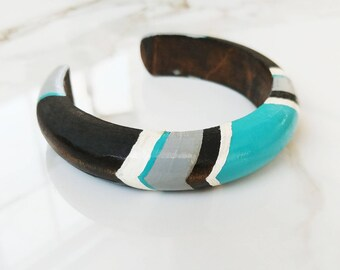 Tribal Turquoise Hand painted Wood Bangle Bracelet // Boho Tribal // Cuff Bracelet // Statement Jewelry