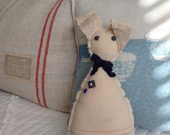 Vintage grain sack bunny, oatmeal linen bunny, farmhouse bunny, easter basket bunny