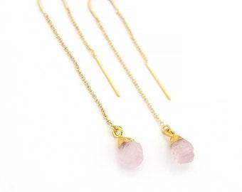 Rose Quartz Earrings, Raw Crystal Drop Earrings, Rose Quartz Healing Stone, Stone Threader Earrings, Bridesmaid Gift Ideas, Raw Quartz Boho