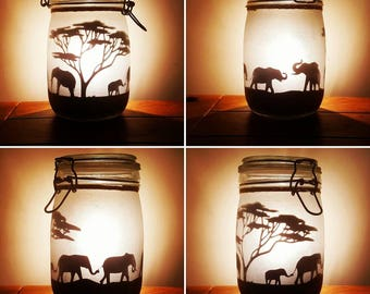Safari jar, elephant, giraffe, meerkat (lit with a flickering LED light). Mason jar, fairy jar, glitter jar, night light, africa