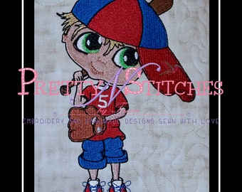 Filled Baseball Boy Embroidery Design includes 4 design sizes 1.5X2.25, 2.54X3.91, 4.55X7 and 6X9.23