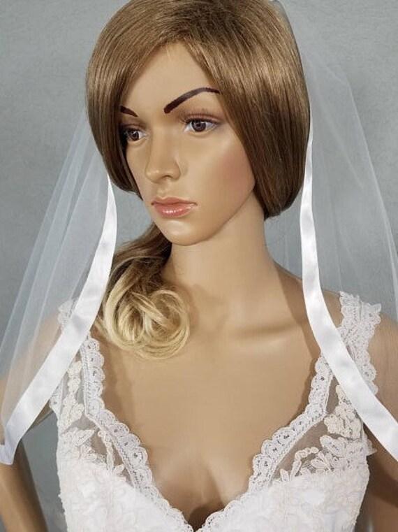 White Wedding Viel Bridal Hip Length, One Layer Ribbon Edge Veil, Bride Accessory, Soft Tulle