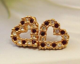 Vintage Heart Earrings with Rhinestones