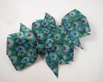 Peacock Hair Bows - Peacock Hair Clips -  Peacock Print - Pinwheel Hair Bow - Pin Hair Clip - Kids Girls Adult Teenager Hair Accessories