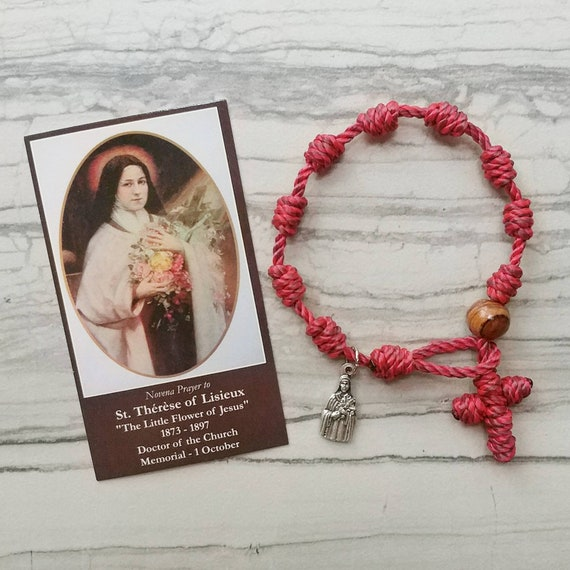 St. Therese Little Flower Rosary Bracelet - with charm
