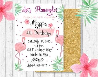 Flamingo Birthday Party Invitation - Tutti Frutti Invitation - Flamingle Party Invitation - Girls Birthday Party Invitation - PRINTABLE