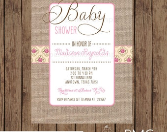 Custom Printed Floral Burlap Baby Shower Invitations - 1.00 each with envelope