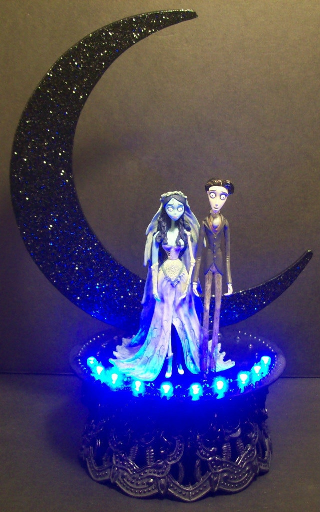 Corpse Bride & Victor Wedding Cake Topper Crescent Moon TIM