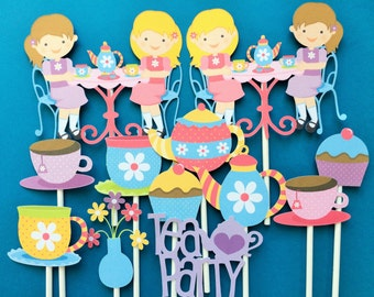 Tea party cupcake toppers, tea party toppers, tea party girls birthday, birthday tea party theme, girls tea party cupcake toppers