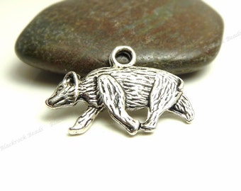 Bulk 18 Bear Charms ( Double Sided ) - Antique Silver Tone Metal - 21x15mm - BP5