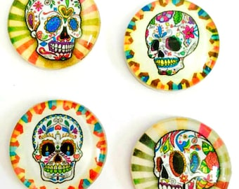 Magnets - Sugar Skulls - Day of the Dead - Skull - Free U.S. Shipping -  Set of 4 - 1 Inch Domed Glass Circles