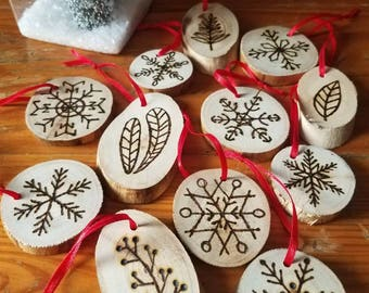 Birch Christmas Ornaments - Set of 12 - hand drawn and burned snowflakes and greens