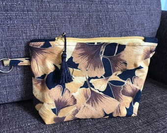 Zippy pouch Ginkgo gold leaves with tassel pull