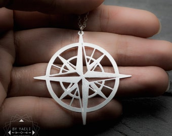 Compass necklace, graduation gift,  unique necklace, sea necklace, compass charm, compass long necklace, compass pendant, gift for her.