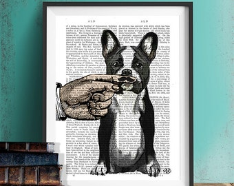 Funny dog art - French Bulldog Finger Mustache art mustache baby geek gift for man geek fathers day geekery print Gifts for Men frenchie art