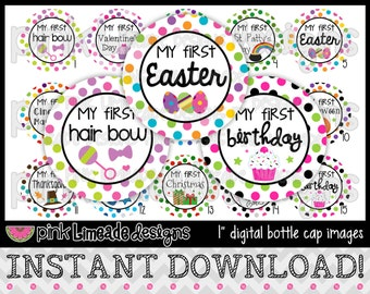 """My First Year - First Holidays/Birthday - INSTANT DOWNLOAD 1"""" Bottle Cap Images 4x6 - 590"""