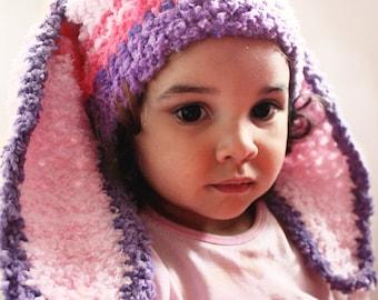 6 to 12m Pink Bunny Baby Hat, Crochet Stripe Baby Girl Hat, Girl Baby Beanie, Pink Lilac Bunny Hat, Baby Rabbit Photo Prop, Baby Gift