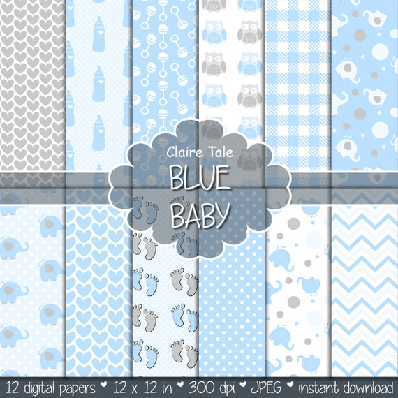 """Baby digital paper: """"BLUE BABY"""" with elephants, foot print, hearts, rattles, baby bottles, owls, gingham, polka dots in blue and grey"""