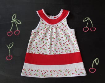 Girl yoke dress, flared dress, a-line cotton girl dress, red and white cherry print, spring summer holiday dress, cherry birthday girl gift